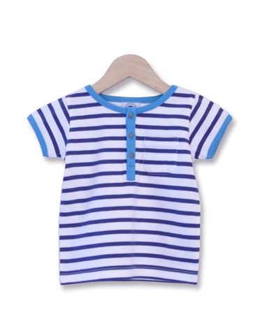 Sailor stripe Top with Penguin Pirate - Navy