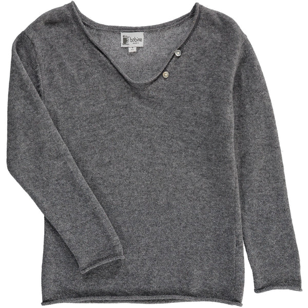 Drop collar Jumper with sparkles - Grey - Tendre Deal