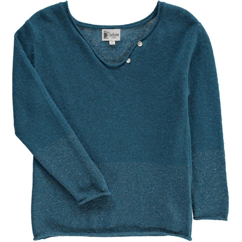 Drop collar Jumper with sparkles - Bluish Green - Tendre Deal