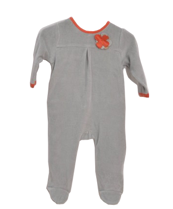 Velour Sleepsuit with red poppy - Tendre Deal