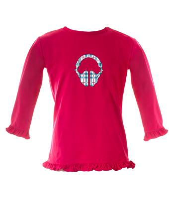 UV50+ girl's rash shirt - Raspberry/Headphone - Tendre Deal