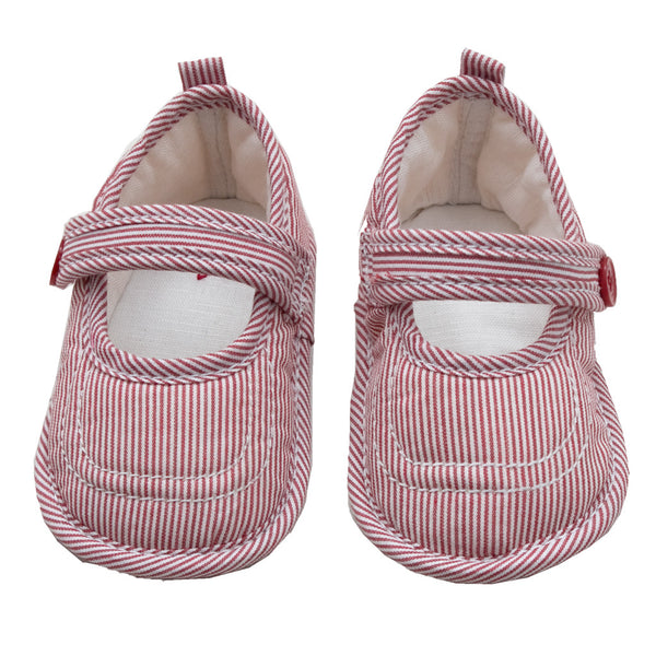 Baby Mary Jane Stripe Shoes - Red - Tendre Deal - 1