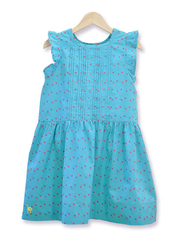 Pleated Star Dress - Turquoise