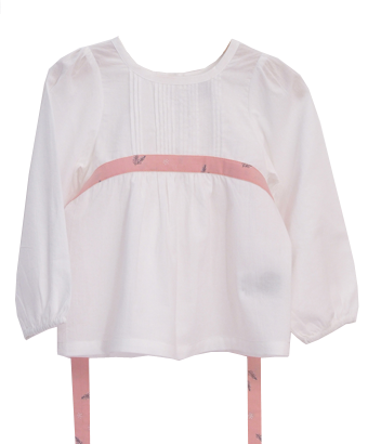Poplin Blouse with belt wrapped chest - White - Tendre Deal - 1
