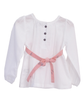 Poplin Blouse with belt wrapped chest - White - Tendre Deal - 2