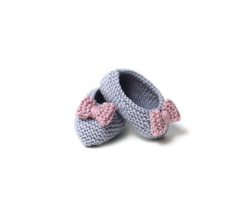 Blue Ballerinas with pink bow - Tendre Deal