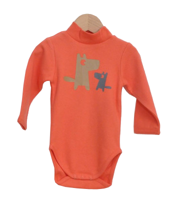 Red RollNeck Bodysuit with dogs print - Tendre Deal - 1
