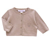 Linen and cotton cropped cardigan - Camel - Tendre Deal - 1
