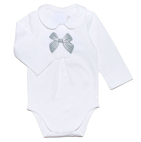 White bodysuit with grey bow - Tendre Deal - 1