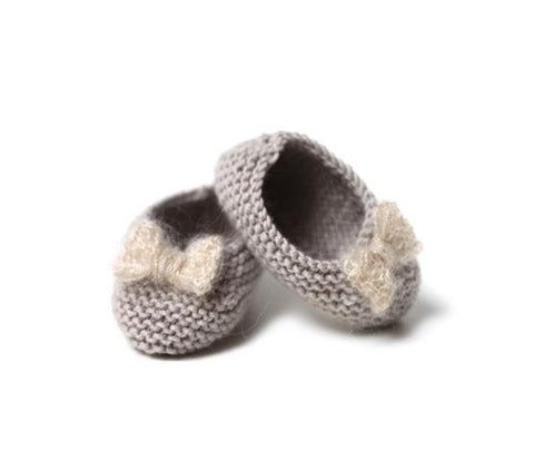 Grey Ballerinas with white bow - Tendre Deal