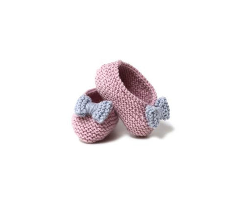 Pink Ballerinas with blue bow - Tendre Deal