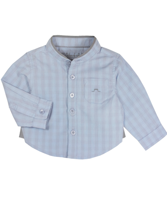 Blue Long Sleeves Checked Shirt - Tendre Deal - 1