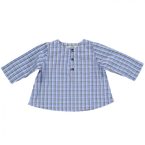 Baby Clement shirt - Blue & Grey gingham