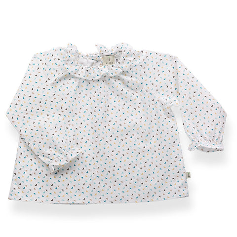 Colette shirt with ruffled collar- triangles