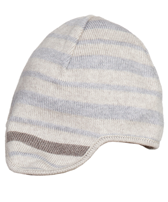 Merino earflap hat - Cream/Blue/Moka - Tendre Deal