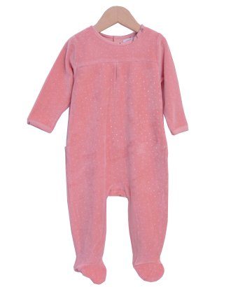 Sweet Pink Velour Sleepsuit with dots - Tendre Deal