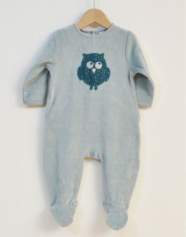Velour Sleepsuit with owl applique