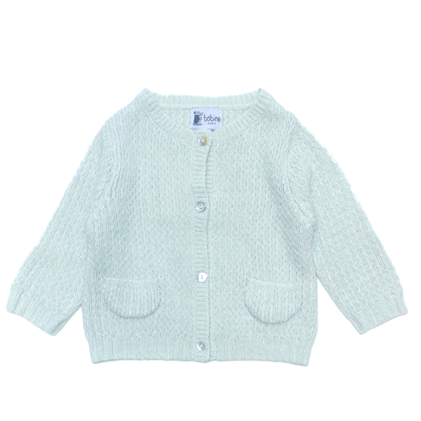 Lurex Sparkle Baby Cardigan - White - Tendre Deal