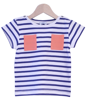Breton Stripe Top with coral pockets - Tendre Deal - 1