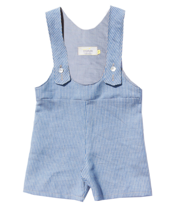 Blue Striped Race Back short Dungarees - Tendre Deal - 1