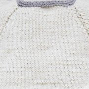 Hand-knitted Twin set - Off white and Blue
