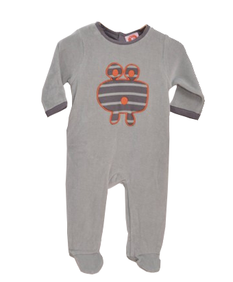 Velour Sleepsuit with frog applique - Tendre Deal