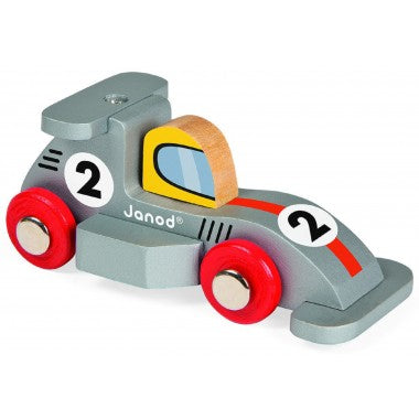 Wooden Story Racing Car - Silver