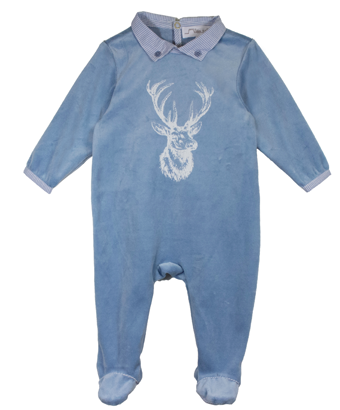 Velvet Baby Pyjamas with Reindeer Print - Tendre Deal - 1