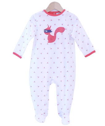 Floral Cotton Sleepsuit with Squirrel - Tendre Deal - 1