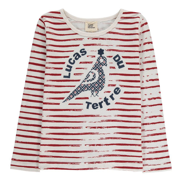 Striped Bird T-Shirt - Red - Tendre Deal - 1
