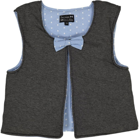 Ginguette vest - dark grey with blue heart