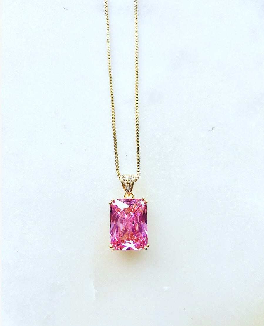 RAYHA Pink Crystal Necklace