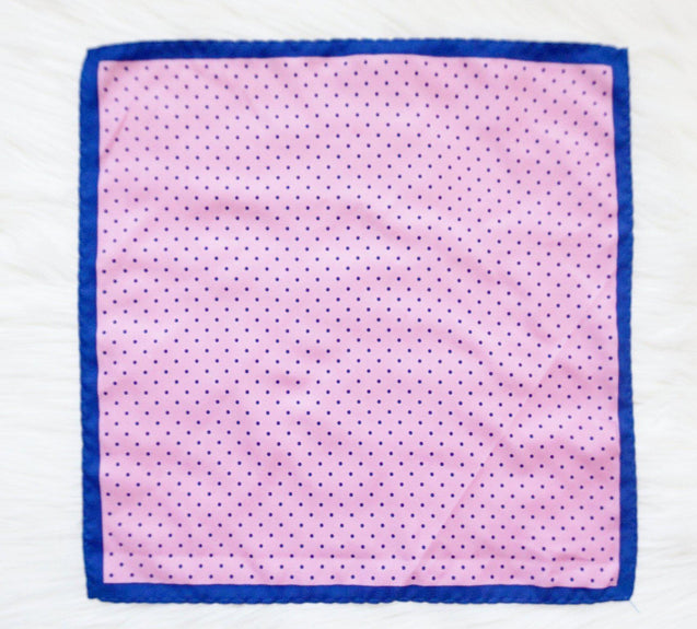 PINK DOT BLUE TWILL POCKET SQUARE