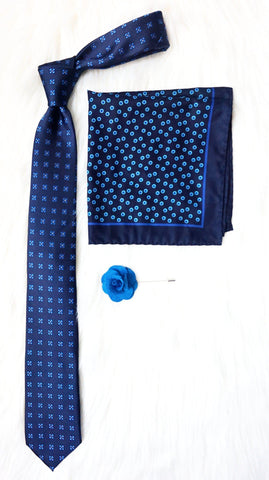 BLU BOX-SET - Elnukstyles | unique affordable men's Bow Ties, Knitted Neckties, Flower Lapel Pins, Pocket Squares, Tie Clips, Cufflinks, Brooch, Toronto
