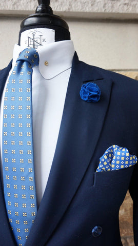 BLUESDAY BOX-SET - Elnukstyles | unique affordable men's Bow Ties, Knitted Neckties, Flower Lapel Pins, Pocket Squares, Tie Clips, Cufflinks, Brooch, Toronto