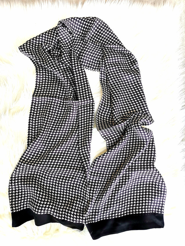 BLACK & WHITE ROYALE  SILK SCARF - Elnukstyles | unique affordable men's Bow Ties, Knitted Neckties, Flower Lapel Pins, Pocket Squares, Tie Clips, Cufflinks, Brooch, Toronto