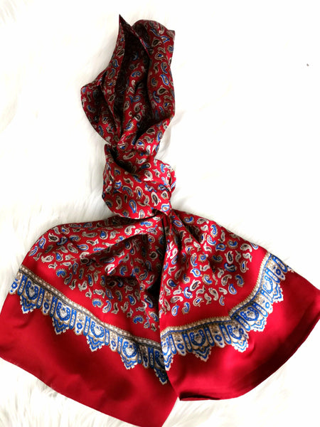 RED PAISLEY ROYALE  SILK SCARF - Elnukstyles | unique affordable men's Bow Ties, Knitted Neckties, Flower Lapel Pins, Pocket Squares, Tie Clips, Cufflinks, Brooch, Toronto