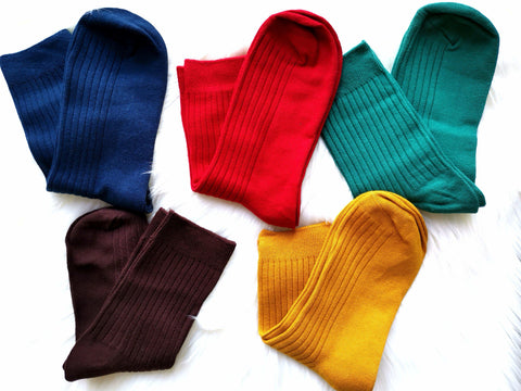 PLAIN COLOURED SOCKS - Elnukstyles | unique affordable men's Bow Ties, Knitted Neckties, Flower Lapel Pins, Pocket Squares, Tie Clips, Cufflinks, Brooch, Toronto