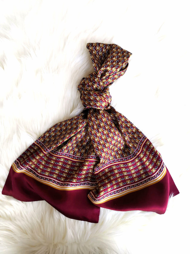 BURGUNDY CHAIN ROYALE  SILK SCARF - Elnukstyles | unique affordable men's Bow Ties, Knitted Neckties, Flower Lapel Pins, Pocket Squares, Tie Clips, Cufflinks, Brooch, Toronto