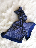 NAVY BLUE POLKA ROYALE  SILK SCARF - Elnukstyles | unique affordable men's Bow Ties, Knitted Neckties, Flower Lapel Pins, Pocket Squares, Tie Clips, Cufflinks, Brooch, Toronto