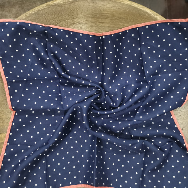 PINK BORDER BLUE DOT TWILL POCKET SQUARE