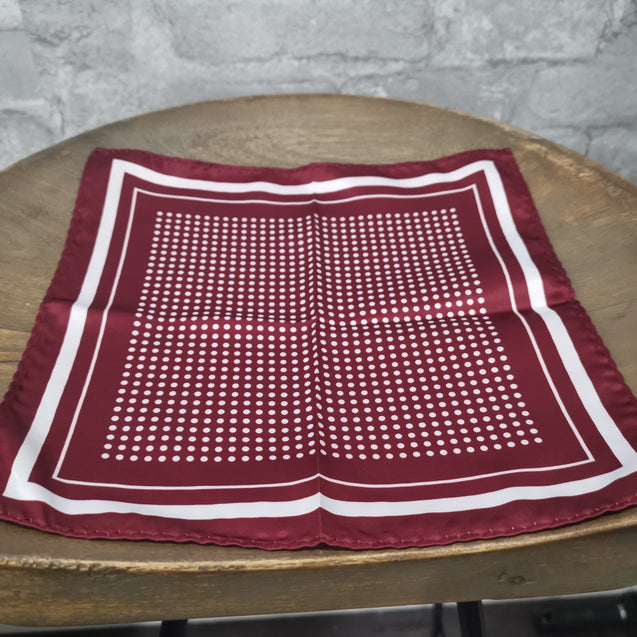 BURGUNDY POLKA DOT TWILL POCKET SQUARE