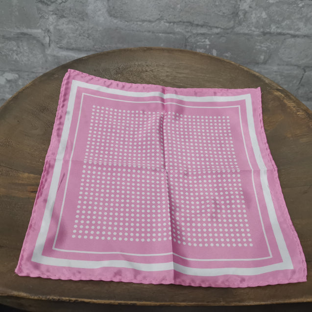 PINK POLKA DOT TWILL POCKET SQUARE