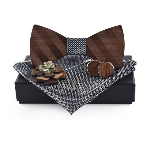 B&W WOODY SET III (4 ITEMS) - Elnukstyles | unique affordable men's Bow Ties, Knitted Neckties, Flower Lapel Pins, Pocket Squares, Tie Clips, Cufflinks, Brooch, Toronto