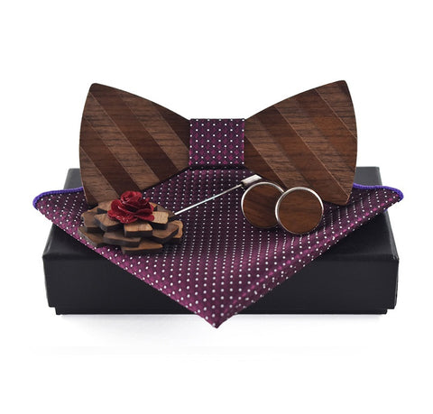 PURPLE WOODY SET II (4 ITEMS) - Elnukstyles | unique affordable men's Bow Ties, Knitted Neckties, Flower Lapel Pins, Pocket Squares, Tie Clips, Cufflinks, Brooch, Toronto
