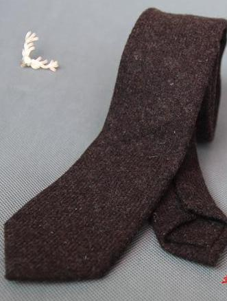 BROWN WOOLEN TIE - Elnukstyles | unique affordable men's Bow Ties, Knitted Neckties, Flower Lapel Pins, Pocket Squares, Tie Clips, Cufflinks, Brooch, Toronto