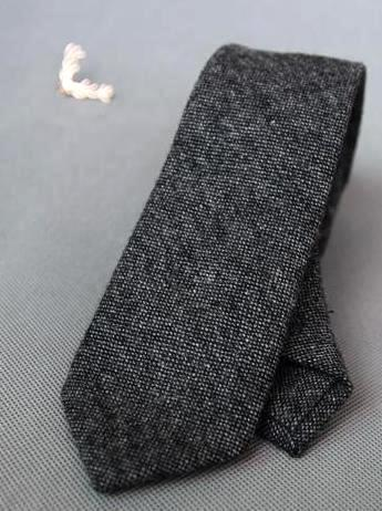GREY WOOLEN TIE - Elnukstyles | unique affordable men's Bow Ties, Knitted Neckties, Flower Lapel Pins, Pocket Squares, Tie Clips, Cufflinks, Brooch, Toronto