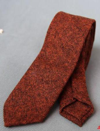 ORANGE WOOLEN TIE - Elnukstyles | unique affordable men's Bow Ties, Knitted Neckties, Flower Lapel Pins, Pocket Squares, Tie Clips, Cufflinks, Brooch, Toronto