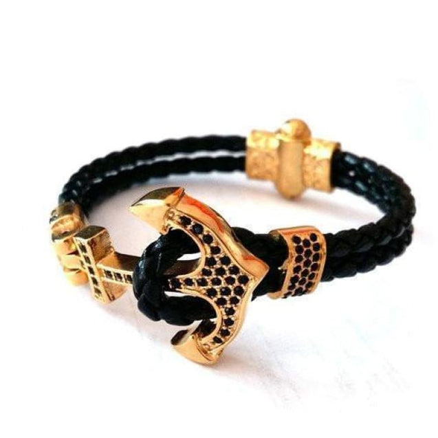 ANCHOR LEATHER BRACELET WITH BLACK STONES - Elnukstyles | unique affordable men's Bow Ties, Knitted Neckties, Flower Lapel Pins, Pocket Squares, Tie Clips, Cufflinks, Brooch, Toronto