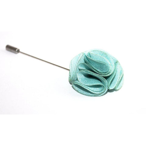 AQUA ROSE LAPEL PIN - Elnukstyles | unique affordable men's Bow Ties, Knitted Neckties, Flower Lapel Pins, Pocket Squares, Tie Clips, Cufflinks, Brooch, Toronto
